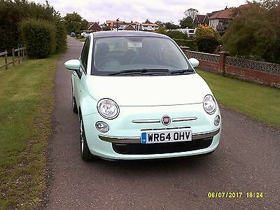 2014 Fiat 500 lounge 1.2 petrol smooth mint low mileage glass panoramic roof