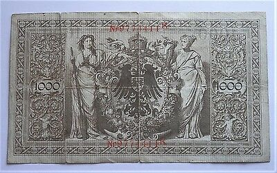 1910 Old German Large Banknote Pre Ww1 1000 Mark 21.april 1910 , Nice , Used