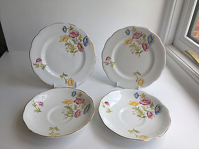 Vintage Royal Albert Bone China tea plates & saucers in the Anemone pattern