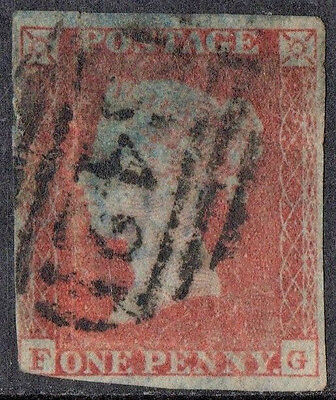 sg.8a.  1d.  red brown.  letters  FG.   USED.  (very blued paper)