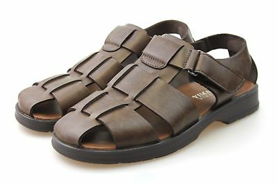 MENS GENTS SIZE 7 8 9 10 11 12 BROWN LEATHER WALKING HIKING STRAP SPORT SANDALS