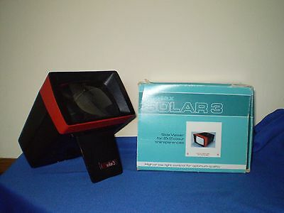 "VINTAGE PHOTAX SOLAR 3 SLIDE VIEWER 2"" x 2"" BLACK RED BOXED"