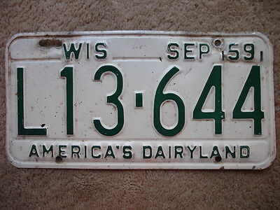 1959 Wisconsin License Plate