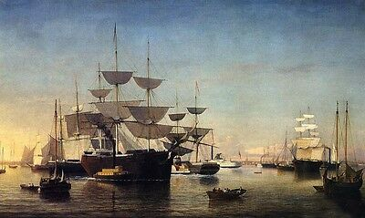 """Huge Oil painting Fitz Hugh Lane - New York Harbor with Sail Boats in Sunset 36"""""""