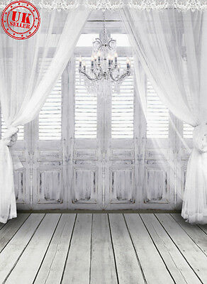 WHITE LIGHT WINDOW CURTAIN BACKDROP BACKGROUND VINYL PHOTO PROP 5X7FT 150x220CM