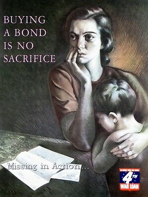 """""""Buying A Bond is No Sacrifice"""" WWII Poster 1943"""