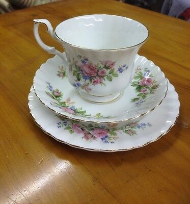 Royal Albert Moss Rose Trio Tea Cup Saucer & Side Plate