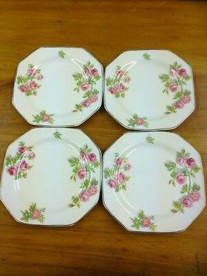 Four Alfred Meakin hexagonal floral side plates