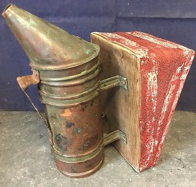 Old Antique Apiarist Brass and Leather Beehive Smoker Apiary Equipment c1900