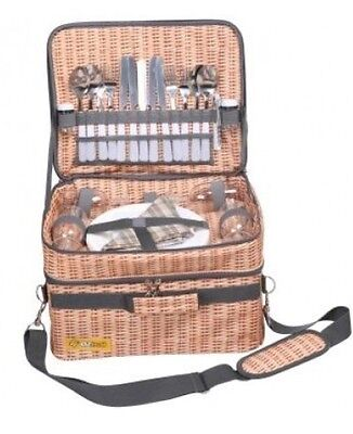 OzTrail Picnic Basket Bag Set 4 Person Wicker Style Camping Pack Cutlery Storage
