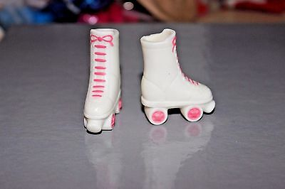 Barbie doll white & pink roller skates squish lace up skater