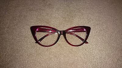 50's style cat eye faux glasses pink Asos