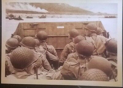 Vintage postcard, not posted, Troops getting ready to land D-Day WWII