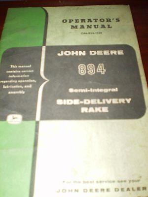 John Deere 894 Semi-Integral Side-Delivery Rake Operator's Manual
