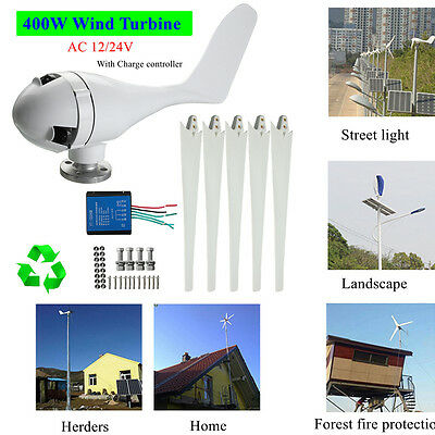 400W DC 12V 24V 3/5 Blade Wind Turbine Generator With Windmill Charge Controller