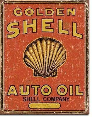 Golden Shell Weathered  Metal Tin Sign