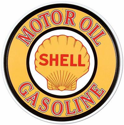 Shell Motor Oil Gasoline Round Embossed Metal Sign