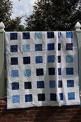 Summer Batik Quilt-Handmade Custom Quilt- Large Throw Batik Quilt Blue and White