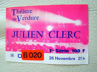 Billet de spectacle - Julien CLERC - 1984 Nice