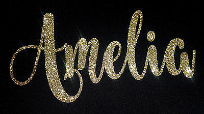 ROSE GOLD PERSONALISED NAME TEXT GLITTER IRON ON HOTFIX TRANSFER Diamante #2