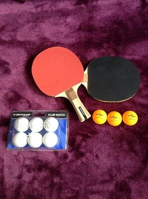 Dunlop Table Tennis Pads And 9 Ping Pong Balls
