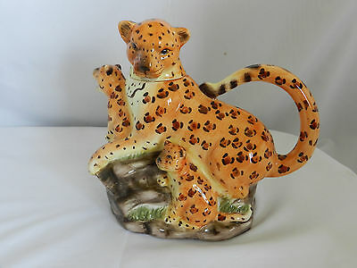 Detailed Ceramic Painted Leopard with Pups Shaped Tea Pot