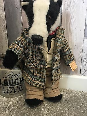 A Vintage & Rare Dapper 'Badger Blaireau' Jointed Bear By Little Folk