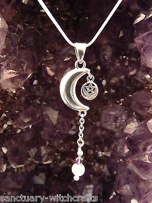 Sterling Silver Crescent Moon & Pentagram Pendant with Amethyst & Moonstone.