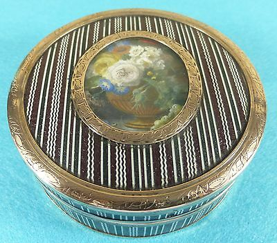 Superb French 18 Carat Gold Faux Tortoseshell Box Oval Picture Fine Chased C1815