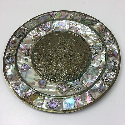 Ornate Brass Round Wall Plaque With Mother Of Pearl Inlaid