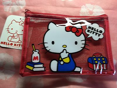Daiso Hello Kitty Sanrio  Mesh vinyl case Red from JAPAN