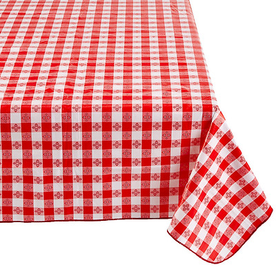 Winco TBCO-90R Checkered Table Cloth, 52-Inch x 90-Inch, Red