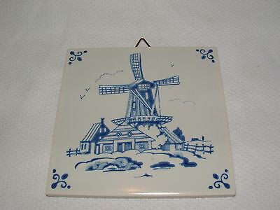 """Vintage ROYAL MOSA HOLLAND DUTCH WINDMILL SCENIC TILE 4"""" by 4"""""""