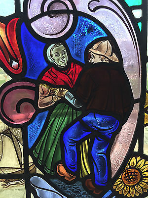 """Antique Stained Glass Panel - Framed in Oak - 34"""" x 24"""" - No Cracks or Breaks"""