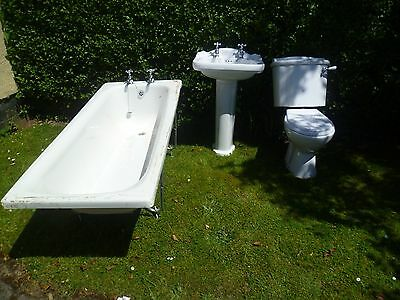 Nice Heavy Duty White 3 Piece Bathroom Suite - Bath/Basin/Toilet & Bristan Taps