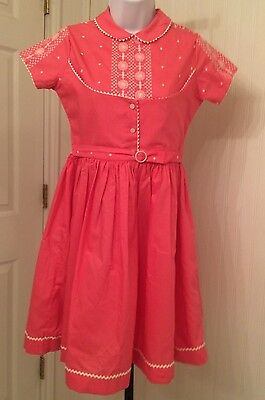 vintage 1950's girl's dress, great detail, pink with white trim