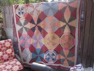 Spectacular Pineapple Log Cabin antique quilt, twin or double,all by hand, N.C.