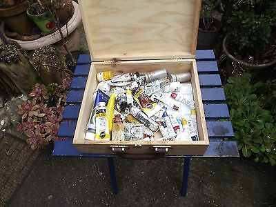 A Number of Old Artists Oil Paints in an Old Wine Box