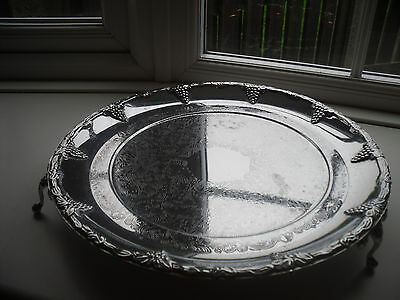 Vintage Silver Plated footed Serving Tray Platter Etched Embossed Grape Design