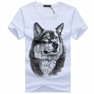 Top Fashion Wolf  Pattern Casual Mens white Short Sleeve O-neck T-Shirt-# S-401