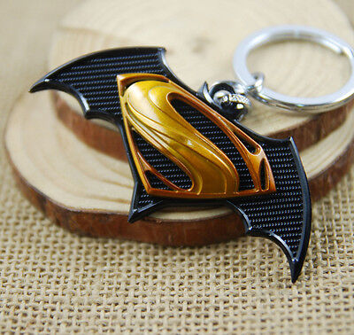 New Yellow Cartoon Batman V Superman Metal car Key chain Keyring Gift