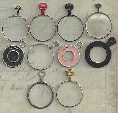 10 Vintage Silver, Gold or Brass, Black Colored Trial or Optical Lenses