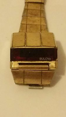 Vintage Men's Wrist Watch Bulova Digital Red Led N6 -For Parts - Untested