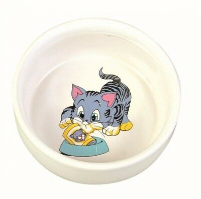 Trixie Ceramic Bowl With Cat Motif, 0.3 Litre, White UK POST FREE