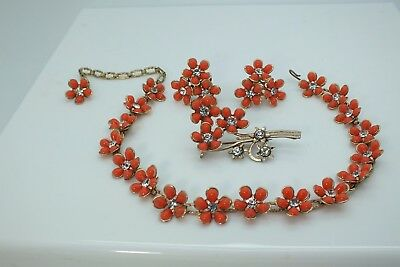 Vintage Thermoset Faux Coral Beads Necklace Screw Back Earrings
