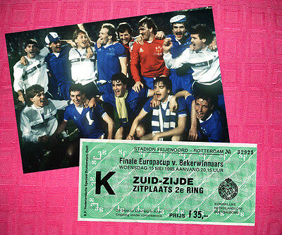 Everton 1985 Cup Winners Cup Photo + Ticket Ratcliffe Gray Sheedy