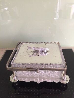 Antique silver plated and glass sardine dish Birmingham c1896