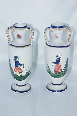 Pair of Quimper Breton French pottery vases hand painted vintage