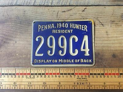 1940 Pennsylvania. Resident Metal Hunting License , Antique Collectible