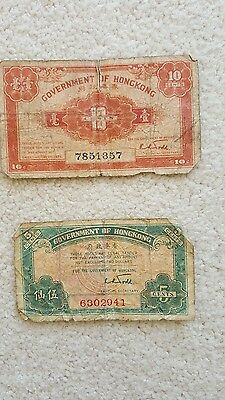 WWII Bank Notes Government of Hong Kong and India